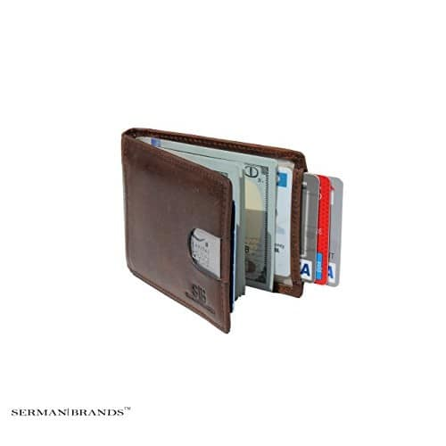 SERMAN BRANDS- RFID Blocking Bifold Slim Genuine Leather Thin Minimalist Front Pocket Wallets for Men Money Clip - Made From Full Grain Leather [California Desert] $22.5