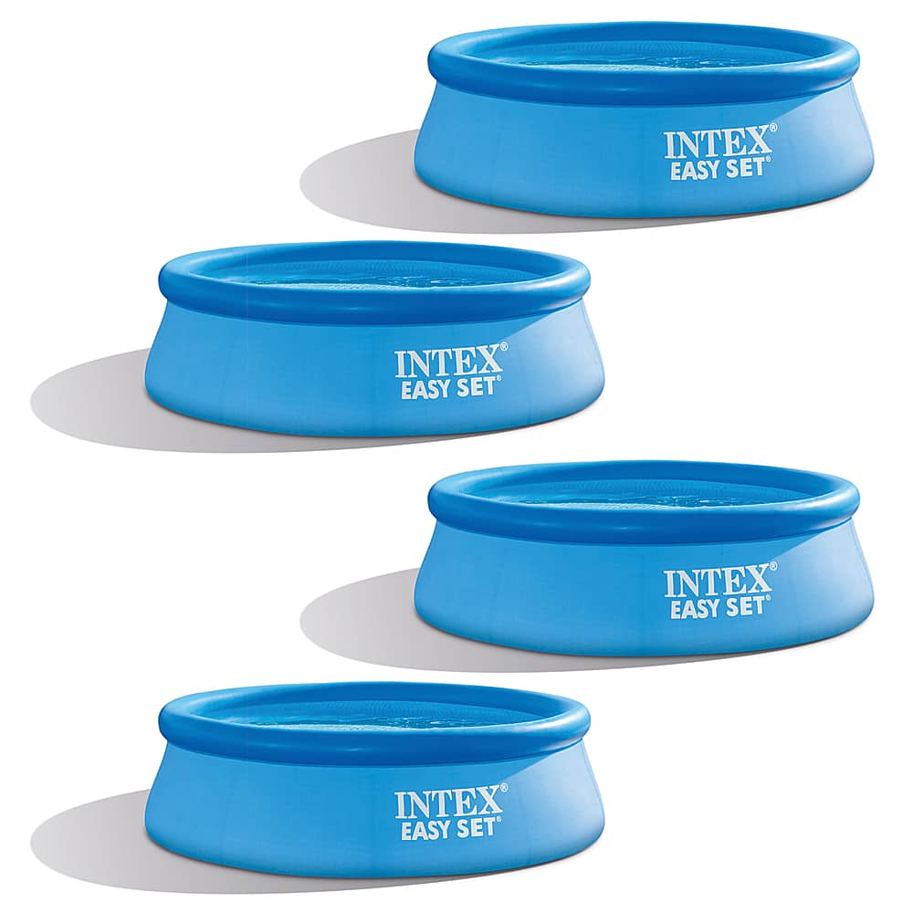 Intex 8 foot x 30 inch Easy Set Inflatable Round Above Ground Swimming Pool (4 Pack) Blue 4 x 28110EH - Best Buy