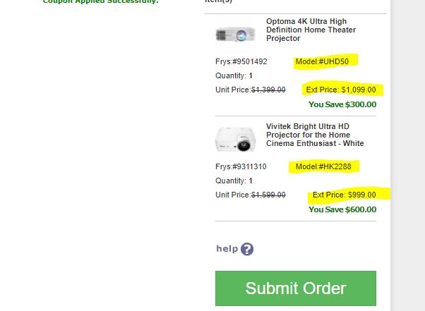 Optoma UHD50 4k $1099 and Vivitek HK2288 $999 Projector Frys