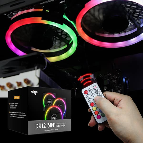 Aigo Aurora DR12 3IN1 Case Fan Kit - 3 RGB LED 120mm High Performance High Airflow Adjustable Colorful Fans with Controller and Remote $22.99