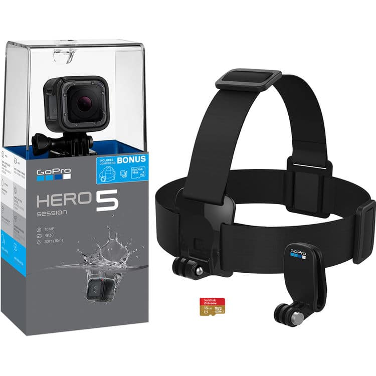 Gopro hero5 session bundle $199 Free ship + no tax for most @b&h photo