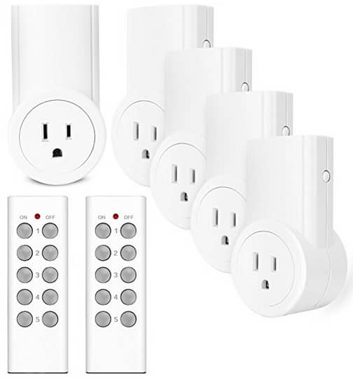 5 Pack of Etekcity Wireless Remote Control Outlet Switch $21.48