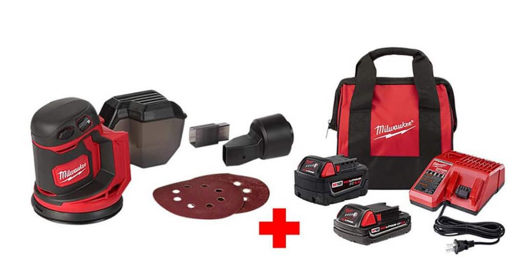 Milwaukee m18 random obit sander with 2 batteries and charger. $199
