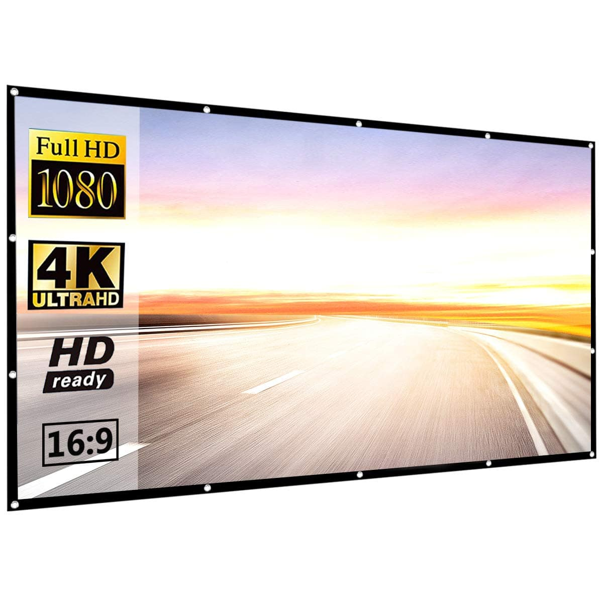 120 Inch 16:9 HD Projector Screen, P-JING Portable Video Screen Widescreen Foldable Anti-Crease Indoor Outdoor Projector $22.97