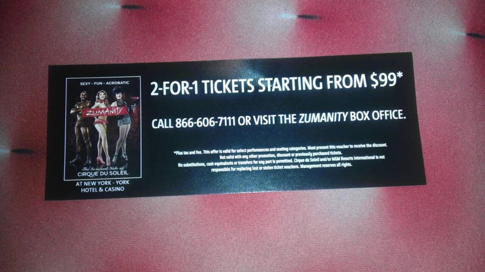 Cirque du Soleil Shows Las Vegas Coupon: 2 for 1 tickets for Zumanity starting at $99, up to 40% off of KA
