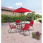 Mainstays Searcy Lane 6-Piece Padded Folding Patio Dining Set, Red - $99 + FS w/Shippingpass or store pickup