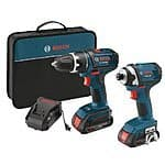 Bosch CLPK234-181 18-Volt Lithium-Ion 2-Tool Combo Kit with 1/2-Inch Compact Tough Drill/Driver, Impact Driver, 2 High Capacity Batteries, Charger and Case - $154.7 @ Amazon