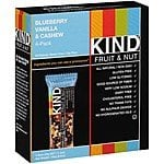 5x 12-pack KIND Fruit & Nut bars, Blueberry Vanilla & Cashew, 1.4 Ounce Bar + 4-pack Dark Chocolate Cherry Cashew + Antioxidants with Macadamia Nuts - $30 AC @ Jet.com