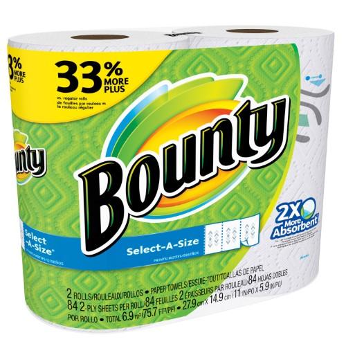 Bounty Paper Towels, Select-a-Size Sheets, Print, 2 Big Rolls (limit 1) - $0.99 @ Jet.com