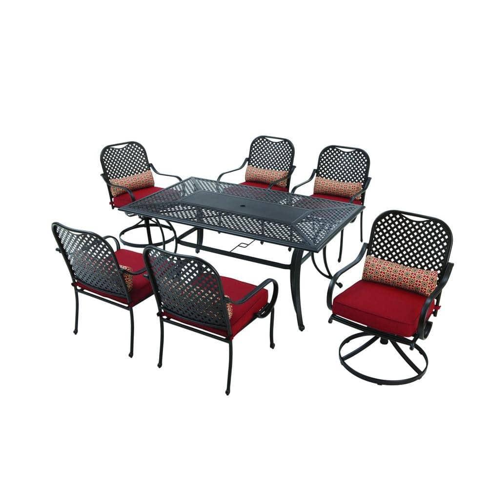 Hampton Bay Fall River 7 Piece Patio Dining Set With Chili Cushion 275