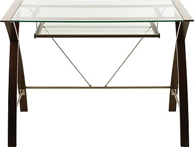 Clearance Lynx Premium Computer Desk w/ Glass top and Wooden Legs, Espresso - $29.99 (orig. $149) @ Staples