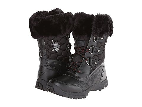 U.S. Polo Assn Womens Black Snow Boots $15 at 6pm.com