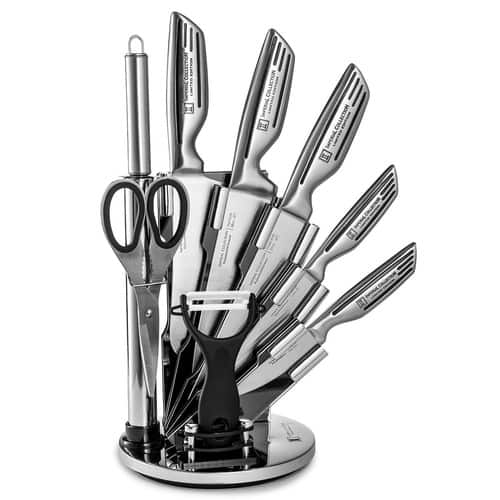 77% off! Imperial Collection 9-Piece Stainless Steel Kitchen Cutlery Knife Set with Rotating Block Stand, Silver Signature [Silver] $28