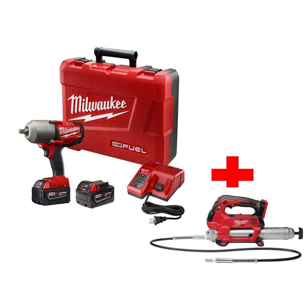 Home Depot- Milwaukee M18 FUEL Brushless High Torque Impact Wrench Friction Ring Kit with Free M18 2-Speed Grease Gun $429