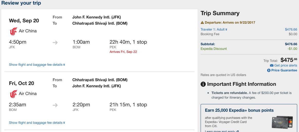 Air china Round trip flight to Mumbai, India from JFK $470