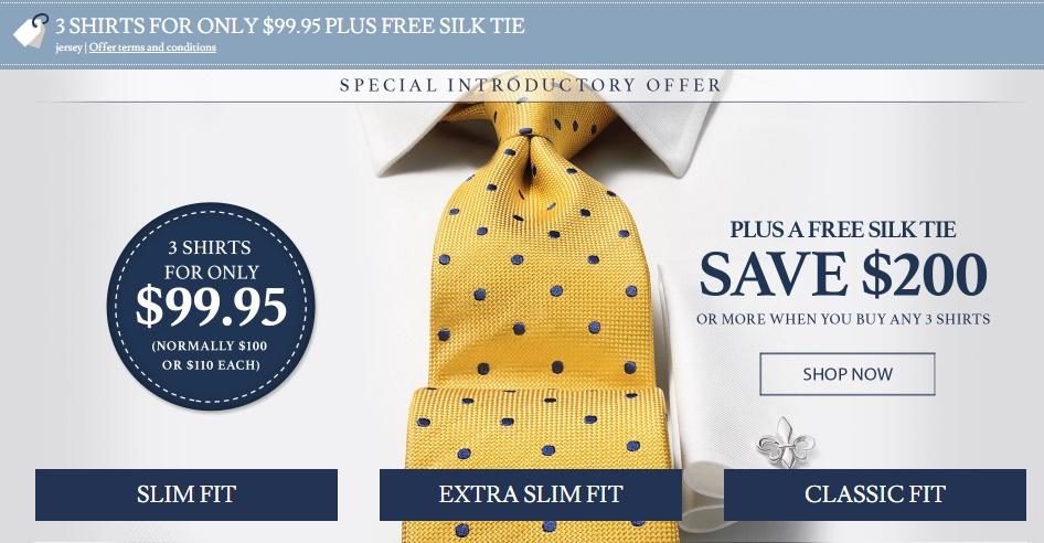 Charles Tyrwhitt: 3 shirts + Tie $99.95