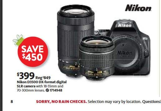 Black Friday AAFES (Military/Veteran) Nikon D3500 with 18-55MM and 70-300mm Lenses - No Tax $399