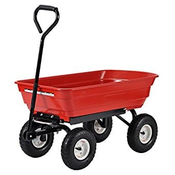 "Steel/Poly Crate Wagon, 20"" Height, 20"" Width, 37"" Length, 300 lb. Load Capacity, Red $50FS"
