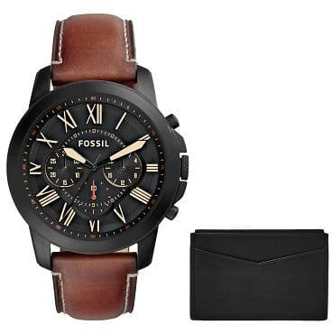 Grant Chronograph Light Brown Leather Watch and Card Case Box Set for $109