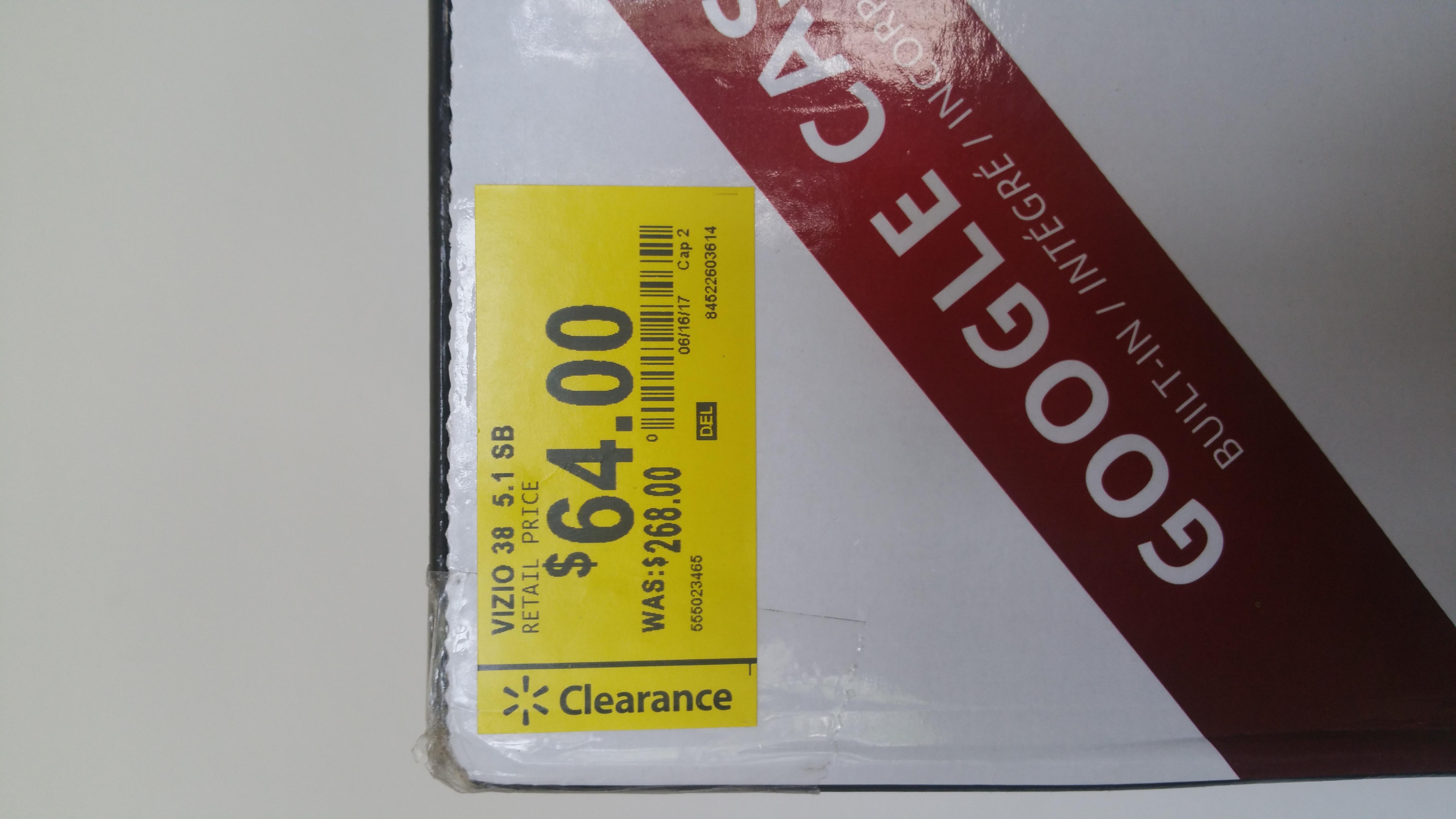 **Walmart YMMV**  VIZIO Sound Bar Speaker - SB3851-D0 - $64 ($268)