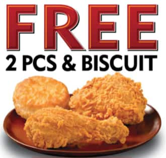 Popeye - free 2 piece with biscuit