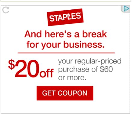Staples $20 off coupon for your regular-priced purchase of $60 or more