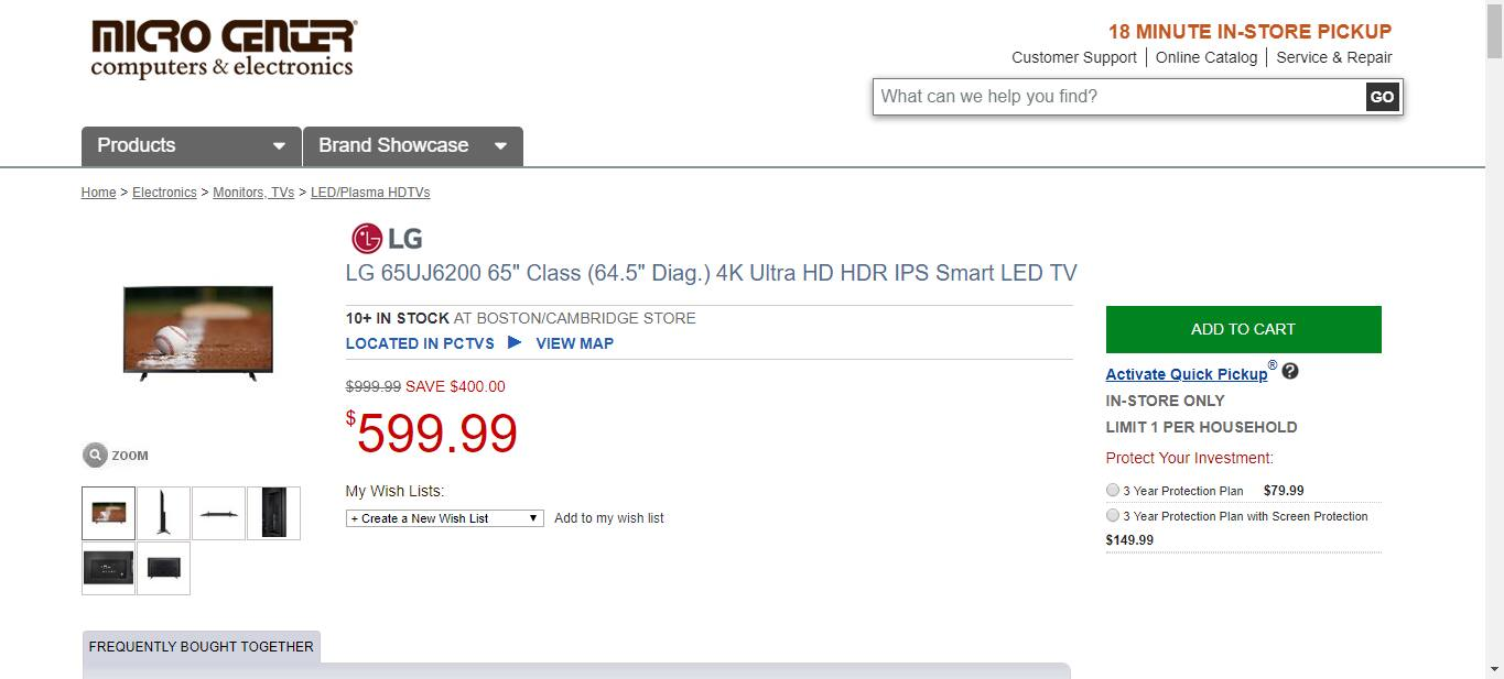 "Cheaper Than Before-- LG 65"" UJ6200 4K LED Ultra HD Smart TV $599 at Best Buy YMMV (WAS $649)"
