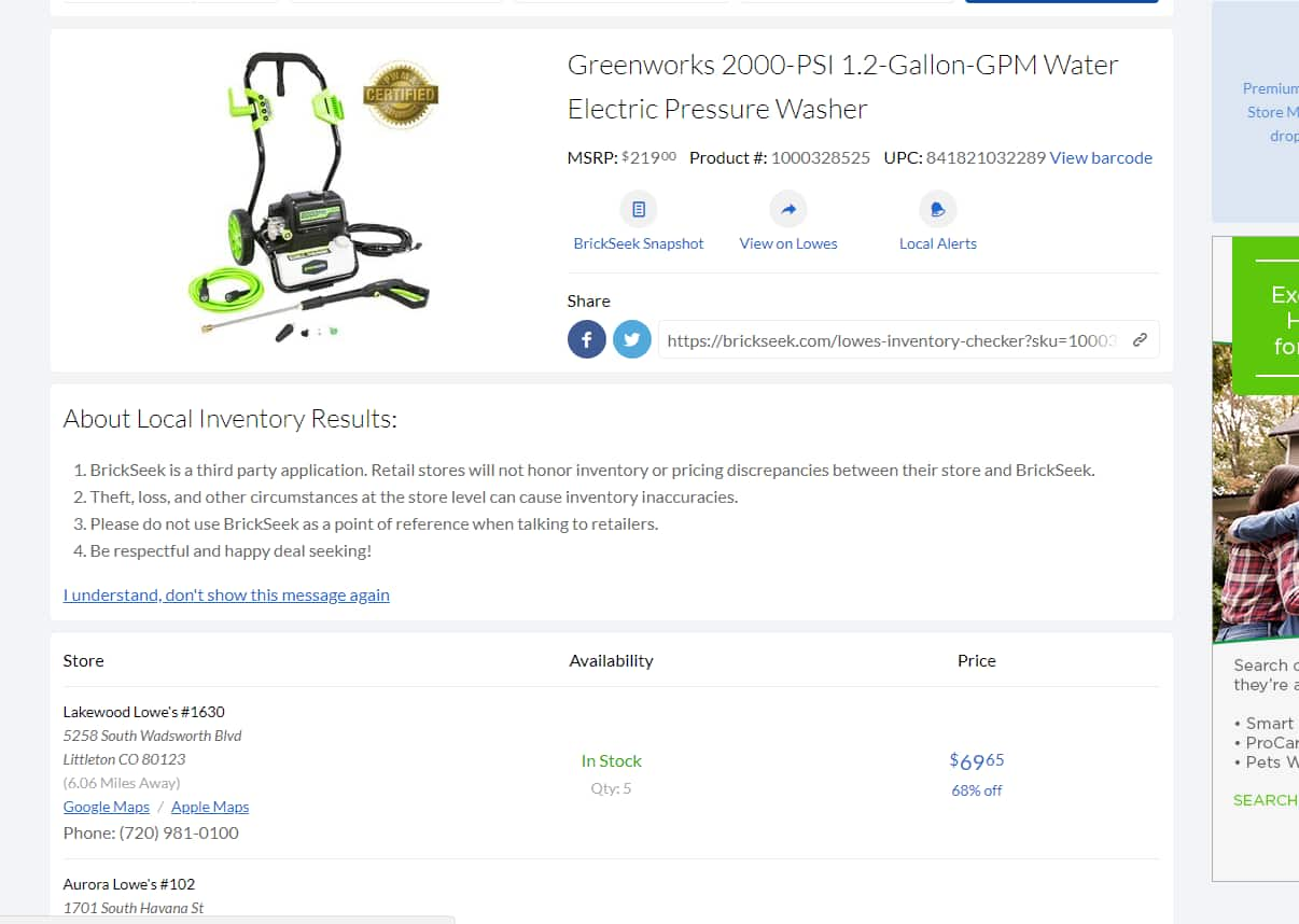 YMMV Greenworks 1600-PSI ($34.65) 2000 PSI (69.65) Cold Water Electric Pressure Washers