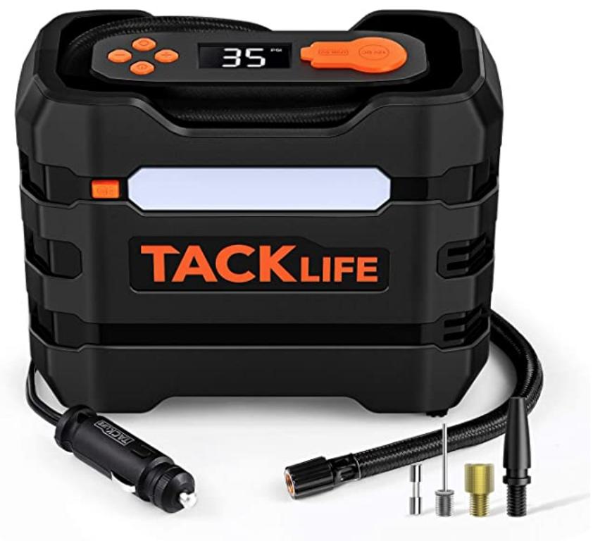 TACKLIFE A6 Tire Inflator, 12V DC Air Compressor, Portable Multifunctional Tire Pump - Maximum inflating pressure: 80 PSI $15.90