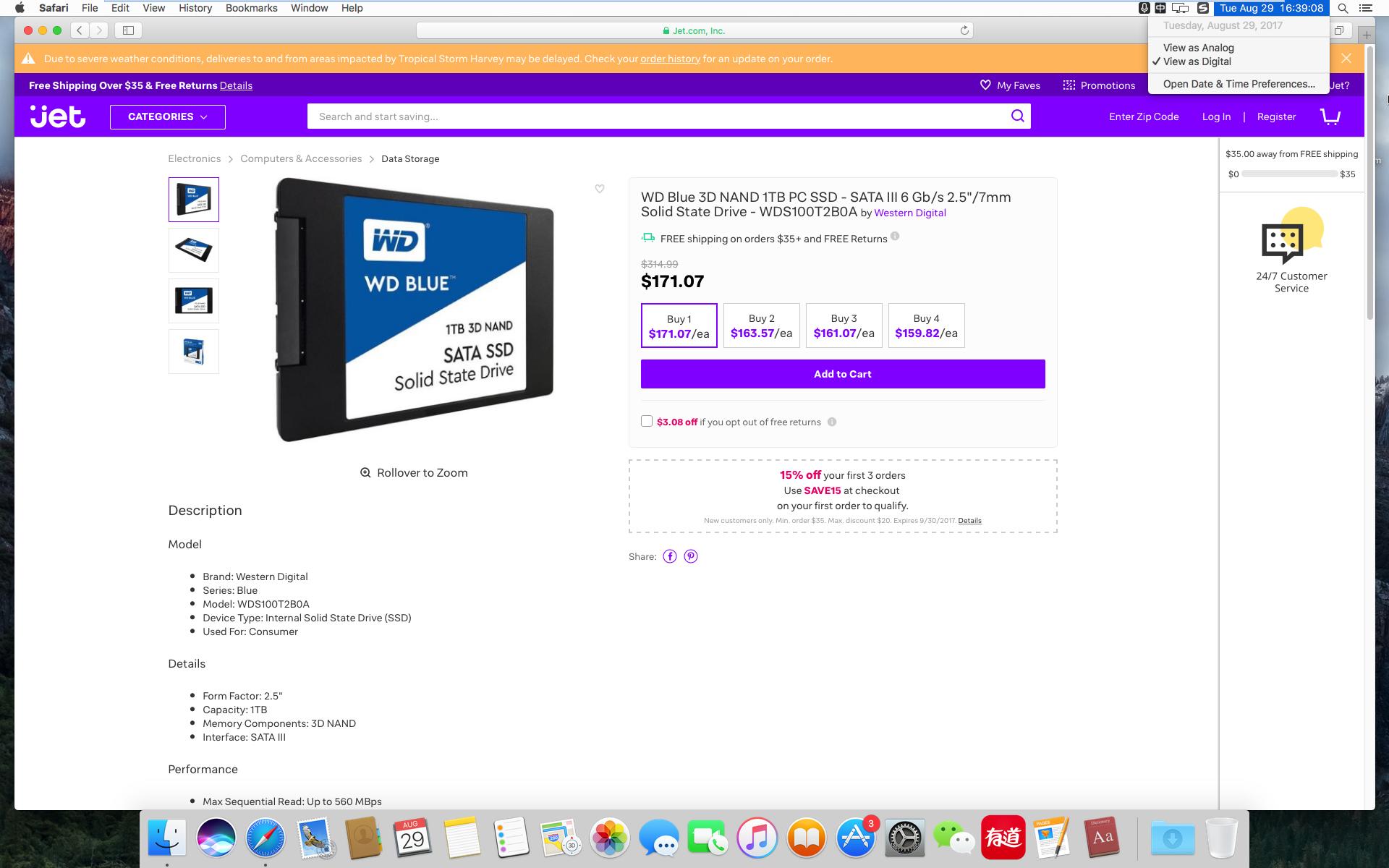 WD Blue 3D NAND 1TB PC SSD WDS100T2B0A $171.07
