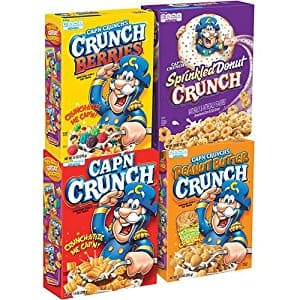 Cap'N Crunch Breakfast Cereal, Variety Pack (4 Count) Sold by Amazon.com 20% coupon Discount Applied With 15% S&S discount. final price $$9.09