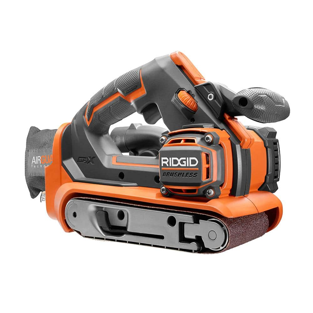 Rigid 18-Volt Cordless Brushless 3 in. x 18 in. Belt Sander with 1.5 Ah Lithium-Ion Battery $129