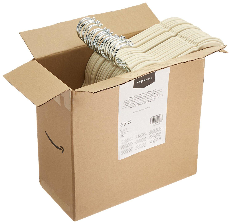 AmazonBasics Velvet Shirt/Dress Hangers, 50-Pack, Ivory/Beige [Ivory, 50-Pack] $10.98