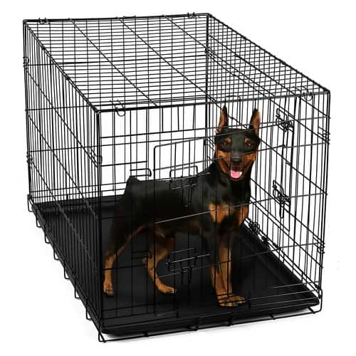 "Paws & Pals Dog Crate Double-Door Folding Metal - Wire Cage w/ Divider for Training Pets [24"" Double-Door w/ Divider] $24.95"