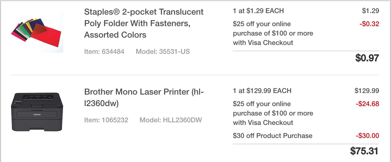 Brother Laser Printer (HL-L2360DW) - 75$ after adding filler item at Staples $75