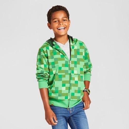 Boys' Minecraft Creeper Hooded Sweatshirt - Kelly Green $18