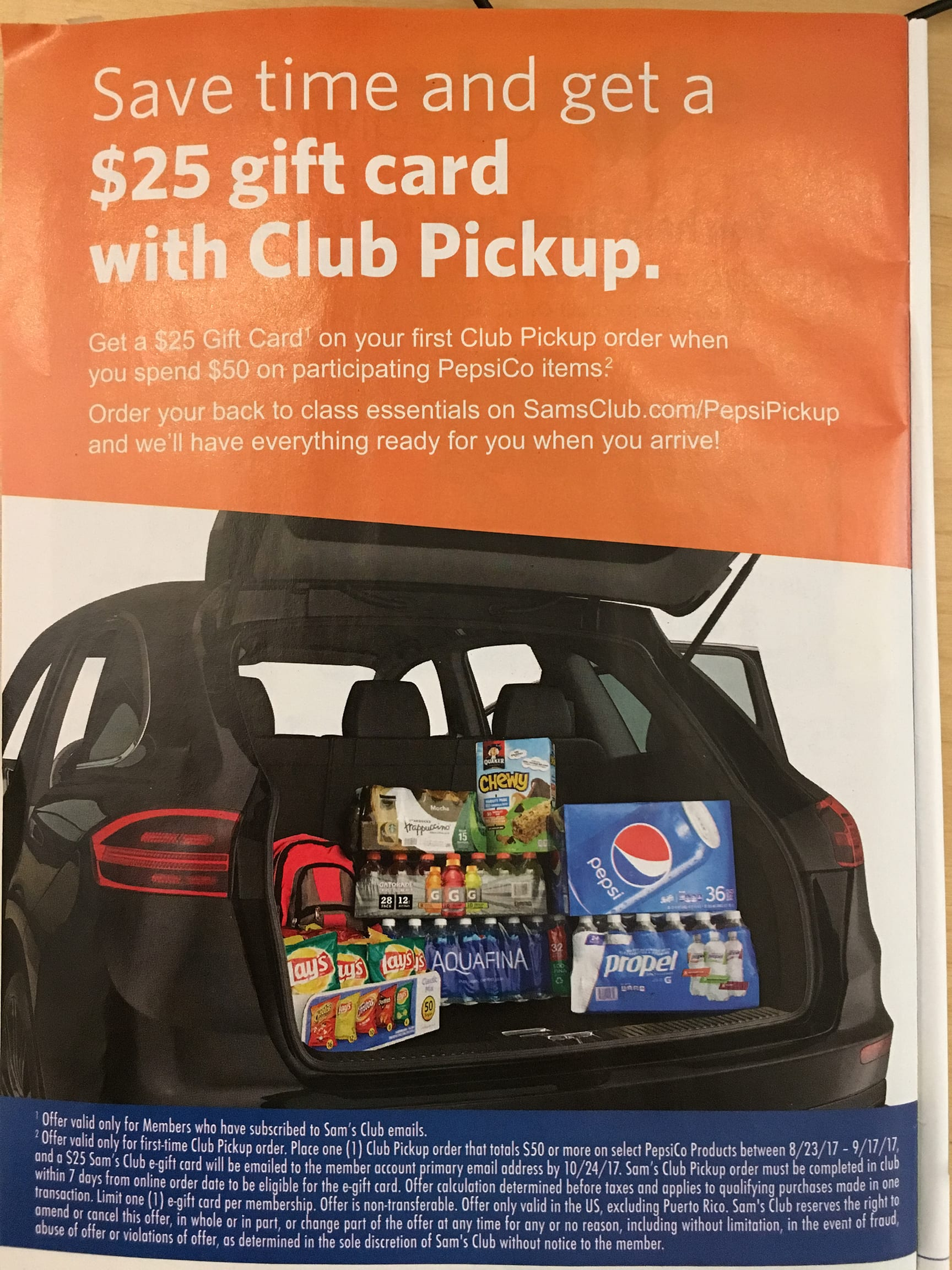 Sam's Club - PepsiCo Club Pickup Gift Card Offer, spend $50 on select products, get $25 GC, 8/23 - 9/17 (YMMV)