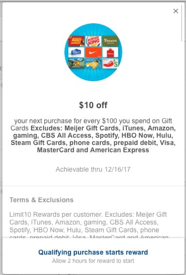 Meijer mPerks - $10 next purchase w/$100 purchase in gift cards thru 12/16 YMMV