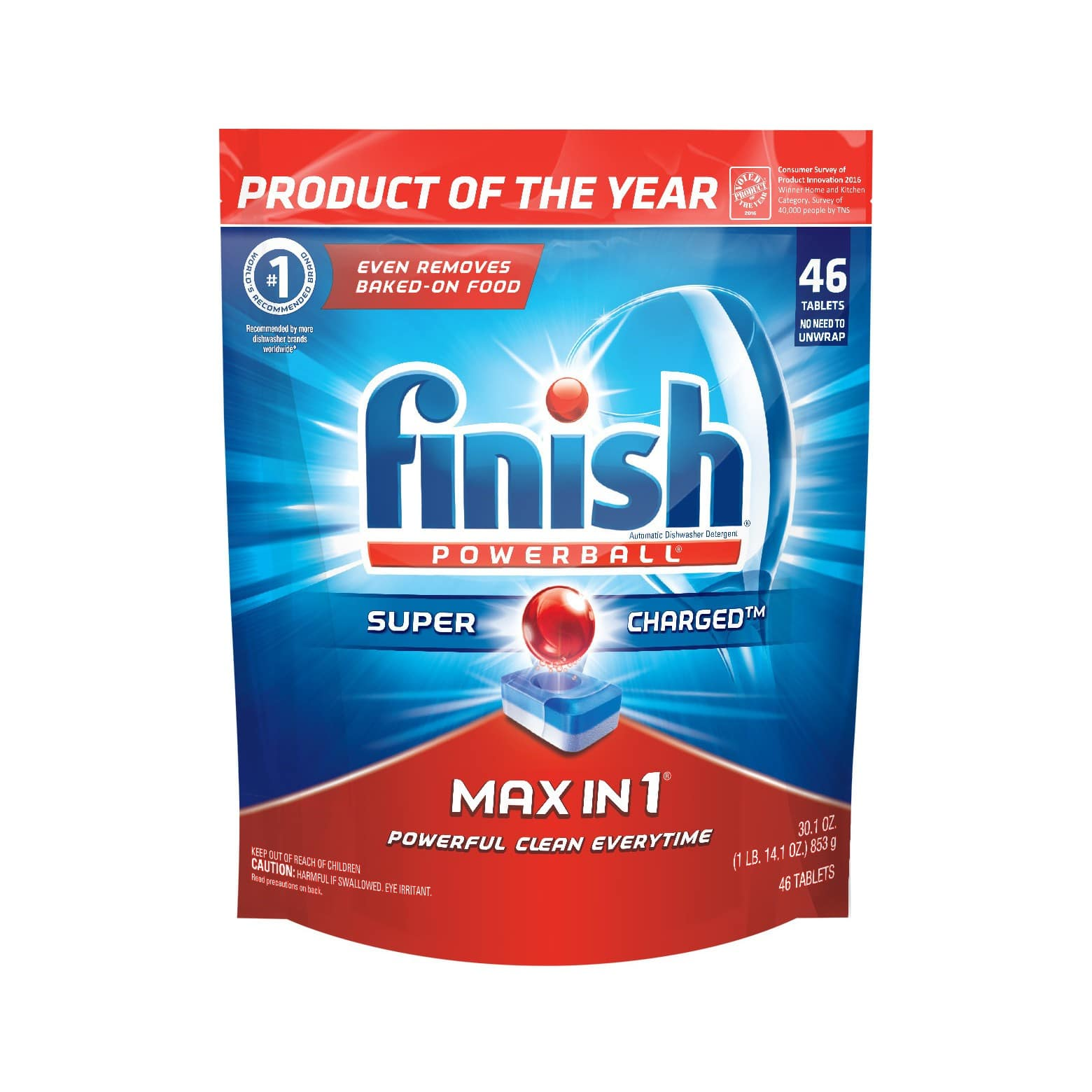 Finish Max in 1 Powerball Dishwasher Tablets, 46x2 = 92 count @ $15.18 FS w/ subscription + $5 GC = $10.18