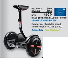 Segway MiniPRO 320 Black or White $499 +$50 Gift Card *LIVE NOW* @ Samsclub.com w/ Free Shipping