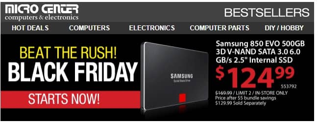 Samsung 850 EVO 500 GB  SSD @ Microcenter $129.99