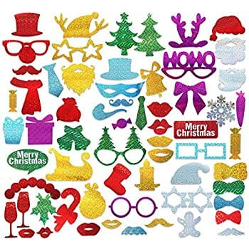 save 25% Off- PBPBOX 60pcs Glitter Party Photo Booth Props DIY Kit for Merry Christmas Photobooth Dress-up Accessories & Party Favors - $9.54 @Amazon