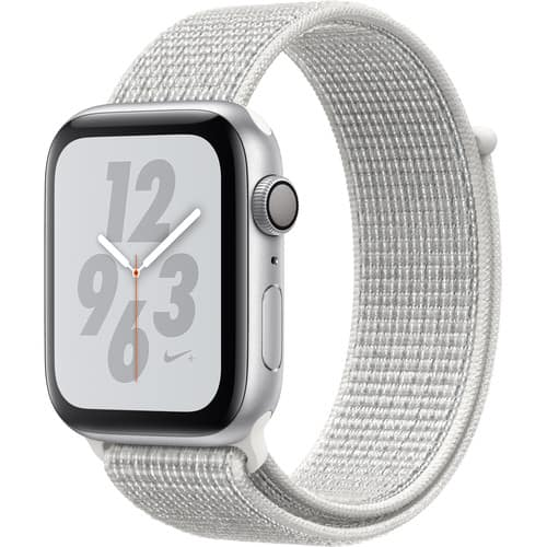 Apple Watch Nike+ Series 4 (GPS Only, 44mm, Silver Aluminum, Summit White Nike Sport Loop) $289
