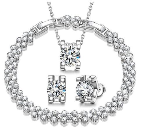 $ 17.81+  F/S w/ Prime  for Necklace Earrings Bracelet Jewelry Set @amazon $17.81