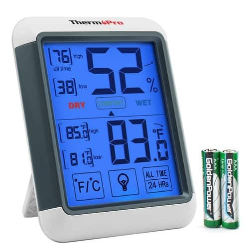 ThermoPro TP55 Digital Hygrometer Indoor Thermometer Humidity Gauge with Jumbo Touchscreen and Backlight Temperature Humidity Monitor  $13.99 + free shipping for prime