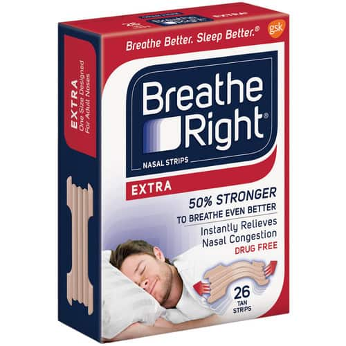 Breathe Right Extra Strength Tan Drug-Free Nasal Strips for Better Sleep, 26 count $13.99 + free shipping for prime