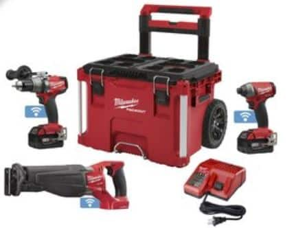 Milwaukee M18 FUEL 3 pc. Combo Kit with 9.0 Battery and Packout Rolling Case $429