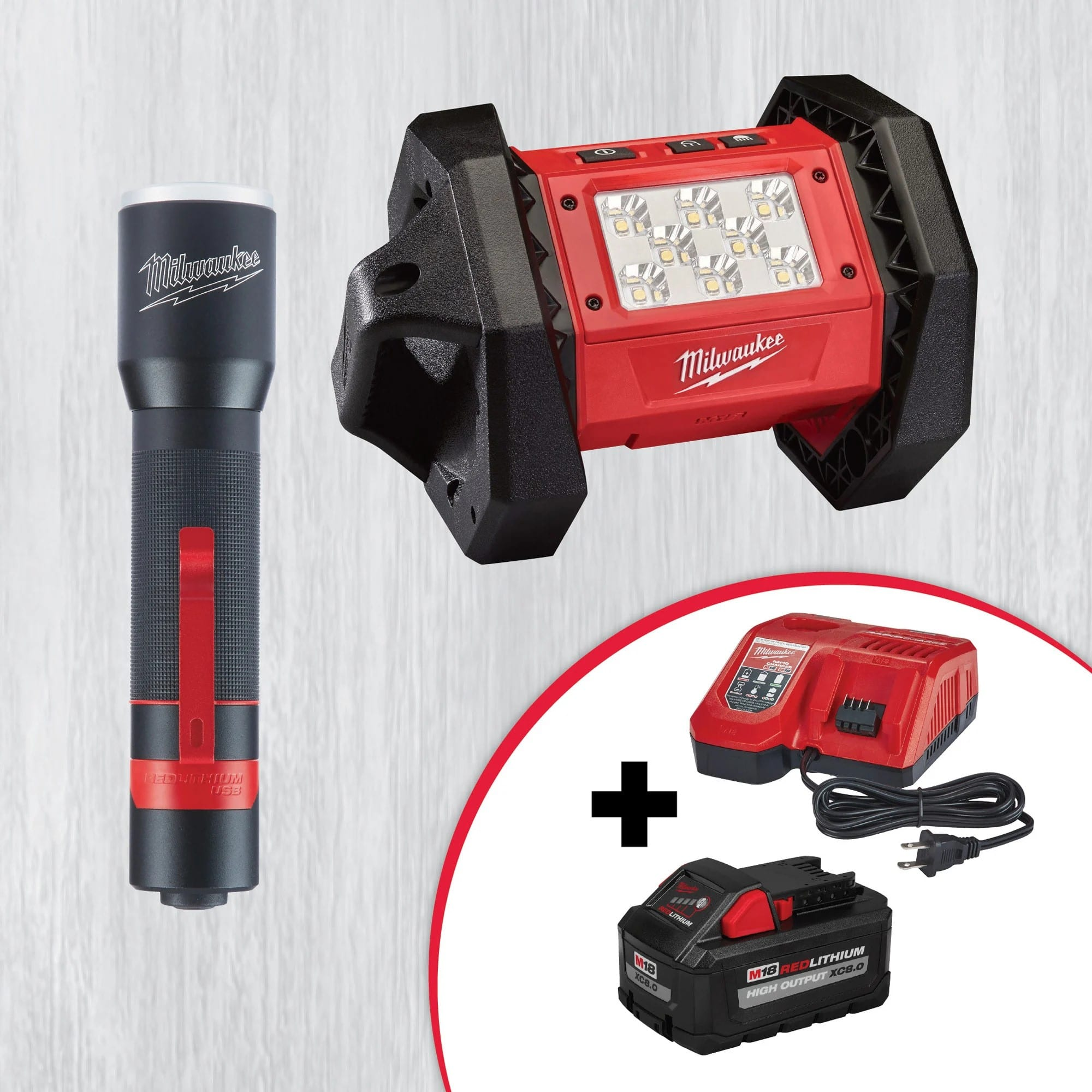 Milwaukee M18 Rover Flood Light and USB Rechargeable 700L Flashlight with FREE M18 8.0ah Battery and Rapid Charger $179