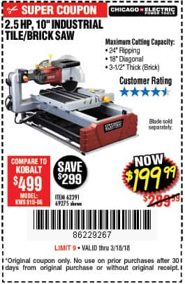 Harbor Freight 10 In 2 5 Hp Tile Brick Saw 199 99 Ac