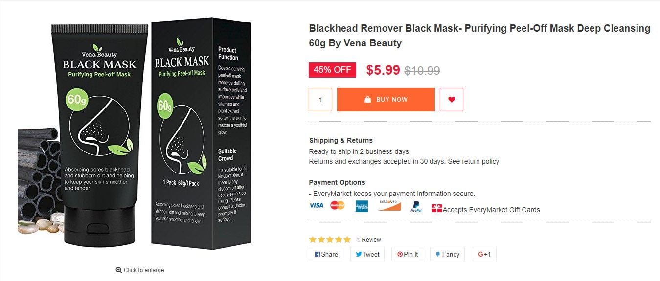 Blackhead Remover Black Mask- Purifying Peel-off Mask Deep Cleansing $5.99